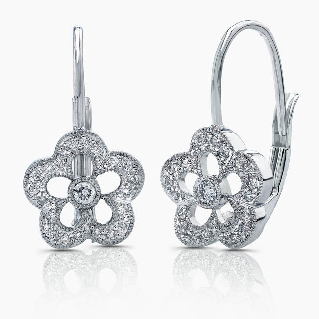 Flower Diamond Earring On Lever Backs, 14k White