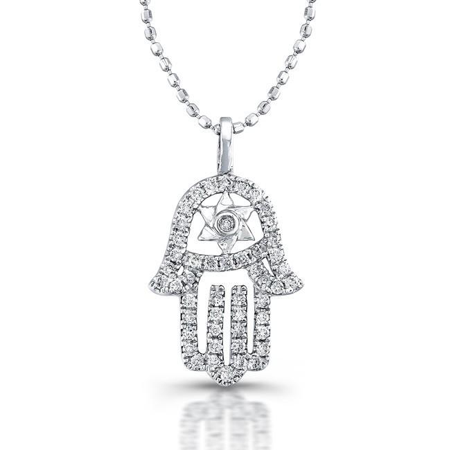 14kt White Gold Diamond Hamsa Star Of David Necklace