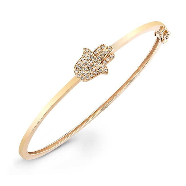 Hamsa Diamond Bangle Bracelet - 14kt Yellow