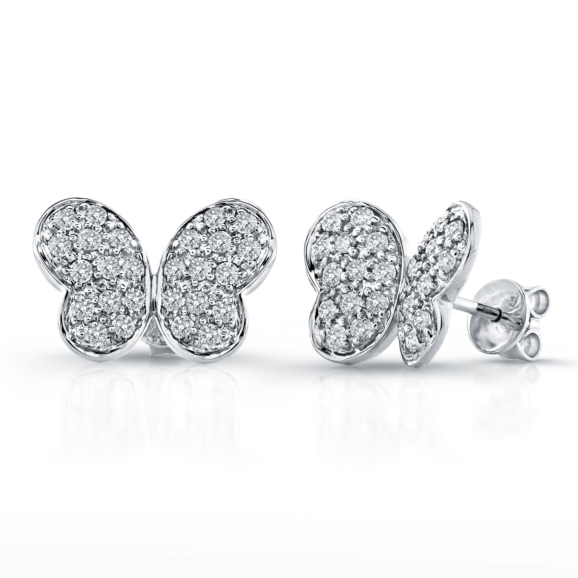 Butterfly Earrings on Diamond Pave Butterfly Earrings  14k White Gold