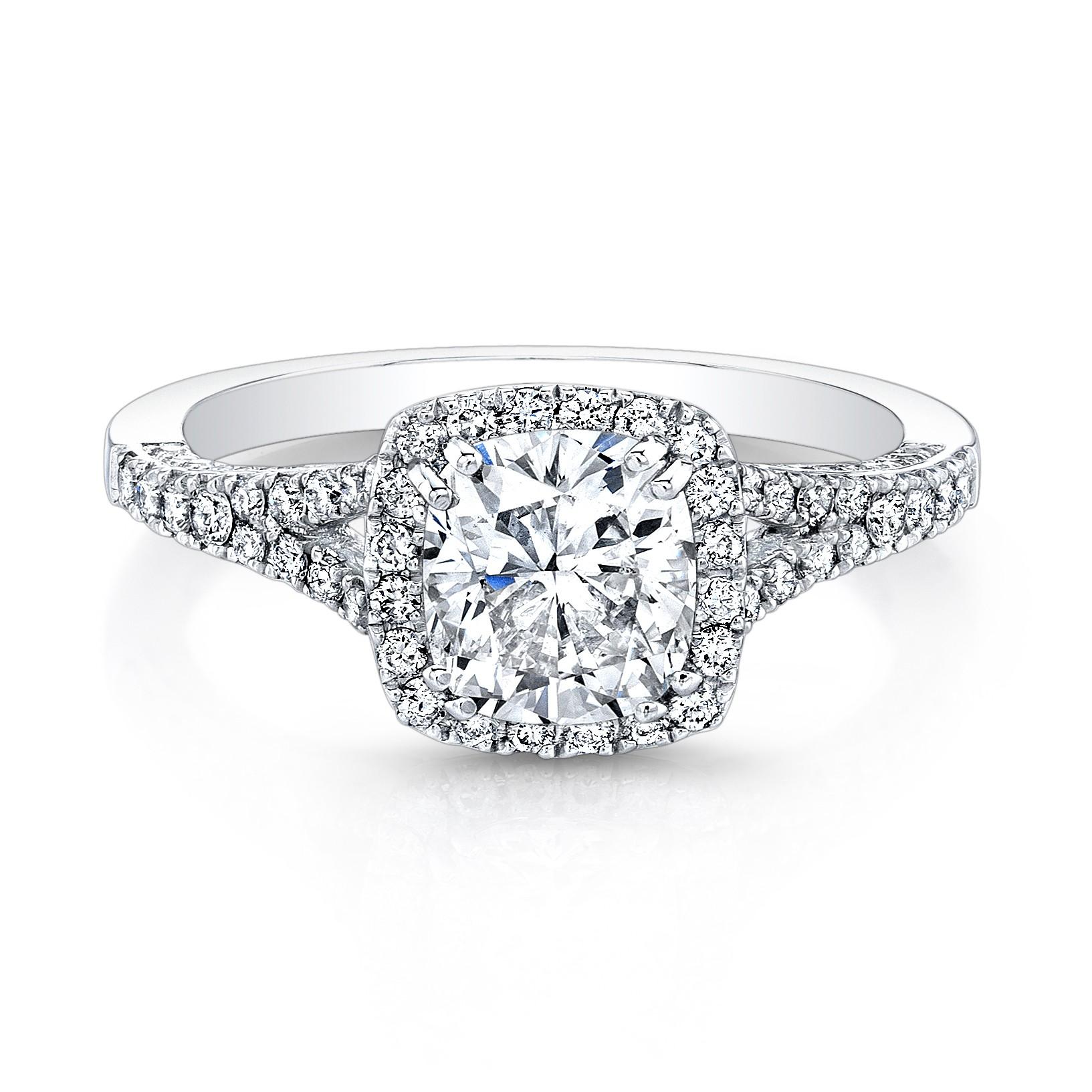 Halo Cushion Diamond Engagement Ring Split Shank