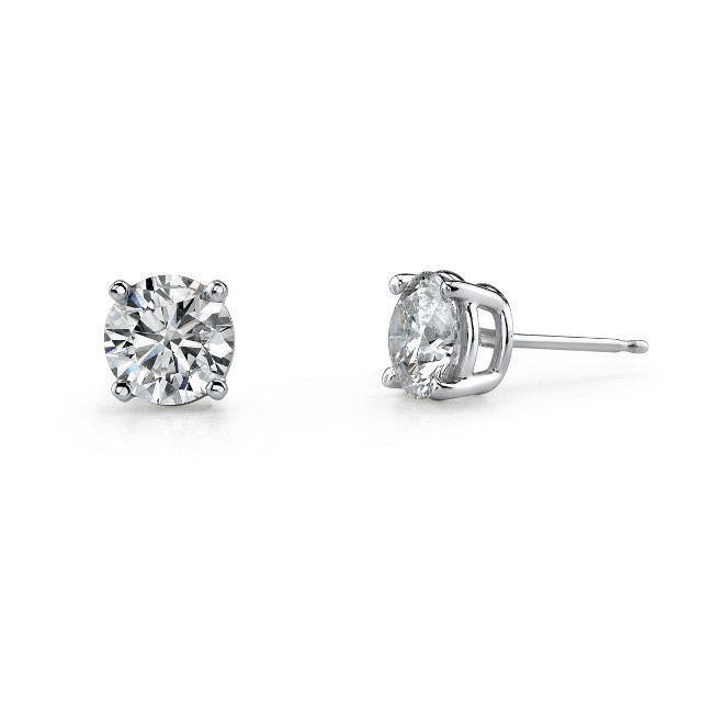 14K White Gold 4 Prong Classic Brilliant Stud Earrings 1/10 ct