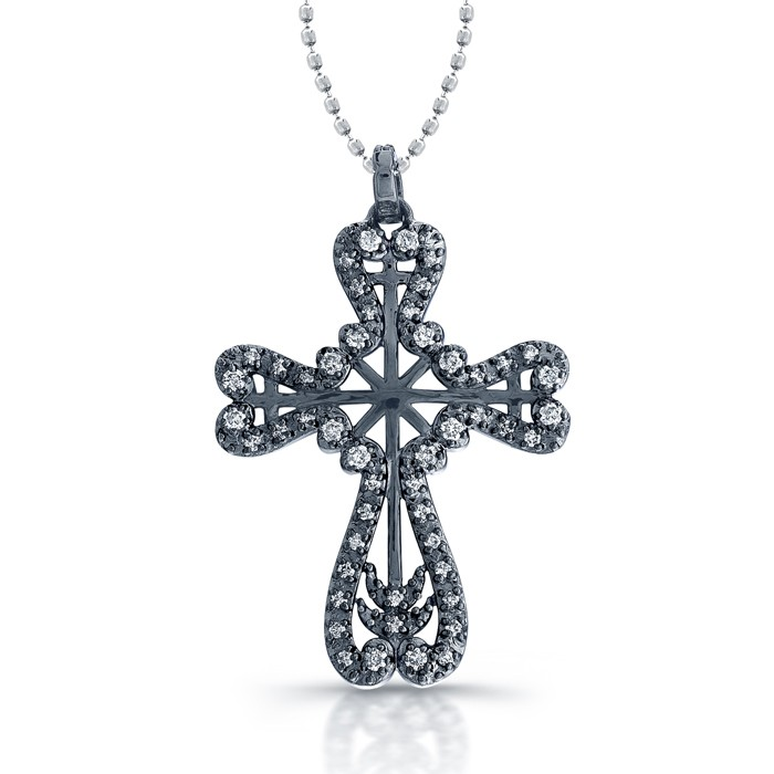 Vintage Diamond Cross With Black Rhodium