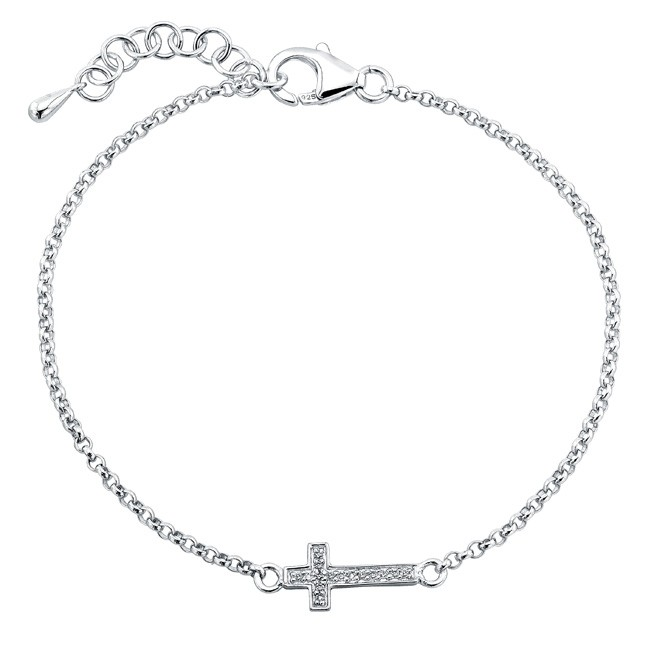 Coby Madison Silver Diamond Cross Bracelet