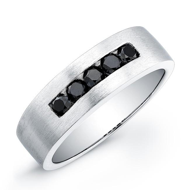 sterling silver black diamond mens band