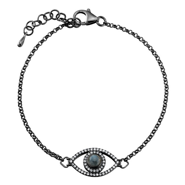 Black Sterling Silver Diamond and Moonstone Evil Eye Bracelet