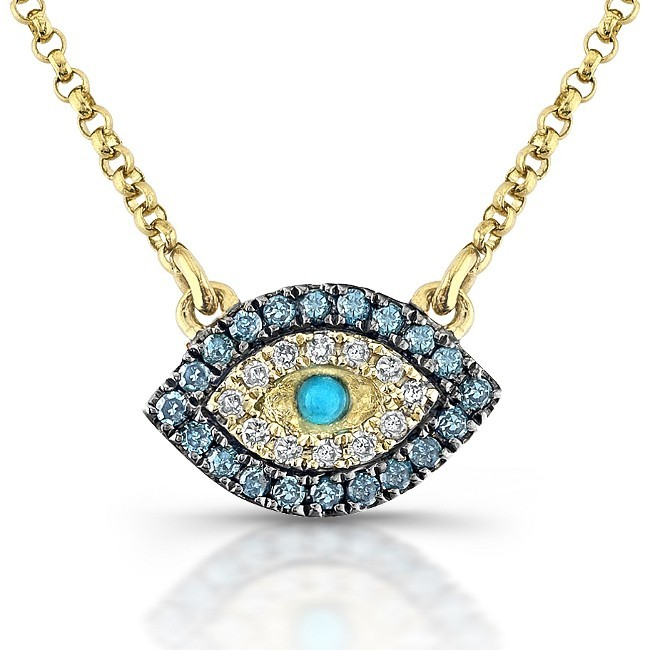 14kt Yellow Gold White-Blue Diamonds Evil Eye Pendant