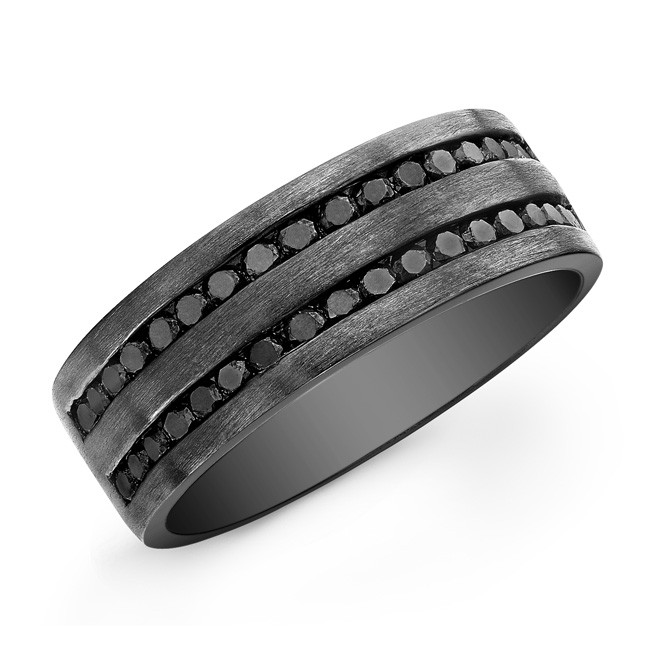 Black Diamond Mens Band - Sterling Silver - Black Rhodium