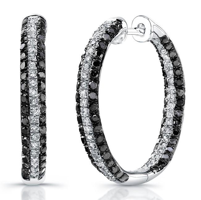 silver black and white hoop earrings