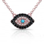 White-Black Diamond Evil Eye Pendant,14K Rose