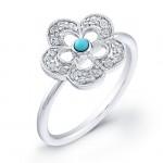 14kt White Gold Diamond Flower Ring-Turquoise Center