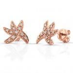 14k Rose Gold Starfish Diamond Earrings