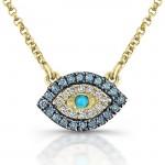 14kt Yellow Gold White-Blue Diamonds Evil Eye Pendant