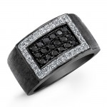 Black and White Diamond Mens Ring-Sterling Silver