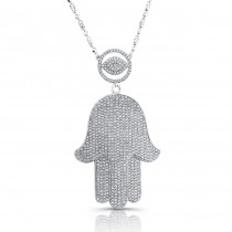 14k White Gold Diamond Evil Eye-Hamsa Necklace