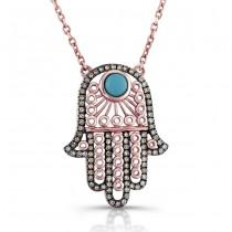 14K Rose Gold Vintage Hamsa Necklace