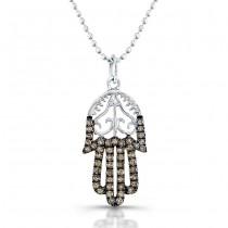 Hamsa Diamond Filigree Necklace With Brown Diamonds 14K White