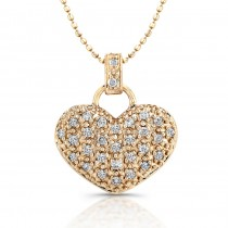 14kt Rose Gold  Puffy Pave Diamond  Heart  Necklace