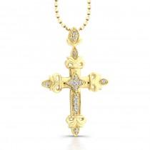 Fleur De Lys Diamond Cross - Yellow Gold