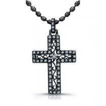 14K White Gold Black Rhodium Elegant Vintage Diamond Cross Pendant