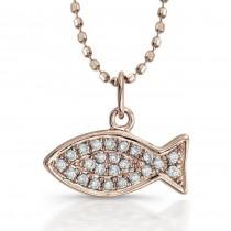 Coby Madison 14k Rose Gold Diamond Fish Pendant