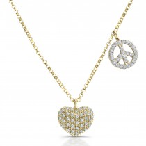 14kt Yellow Gold Heart, Peace Sign Diamond Necklace