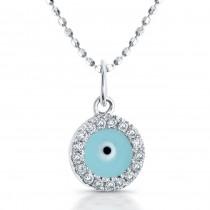 14K White Diamond-Turquoise Enamel Evil Eye