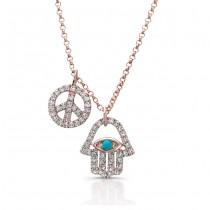 Rose Gold Diamond Turquoise Hamsa Peace Necklace