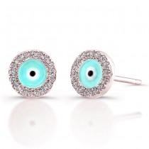 14k Rose Gold Diamond Evil Eye Earrings