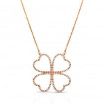 14K Rose Gold Diamond Four Leaf Clover