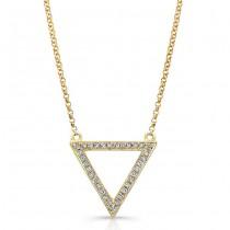 14K Yellow Geometric Triangle Diamond Necklace