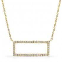 14K Yellow Geometric Rectangle Diamond Necklace