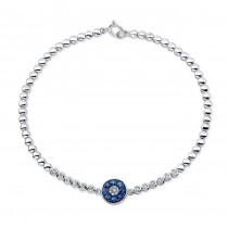 14K White Gold Evil Eye Sapphire Diamond Bracelet