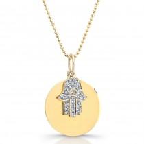 14k Yellow Gold Diamond Circle Hamsa Pendant