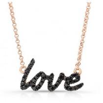 14K Rose Cursive Love Black Diamond Necklace