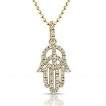 Diamond Hand of Peace- Hamsa Pendant-14k Yellow
