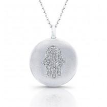 Sterling Silver Diamond Hamsa Disk Pendant