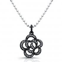 Rose Flower Diamond Pendant-Black Rhodium