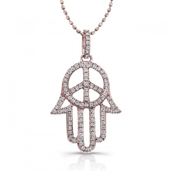 Diamond Hand of Peace- Hamsa Pendant-14k Rose