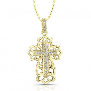 14k Yellow Gold Diamond Cross Filigree Design Necklace .05CTW