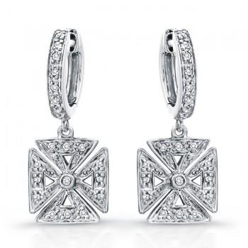 Diamond Chopper Cross Earrings,14k White Gold