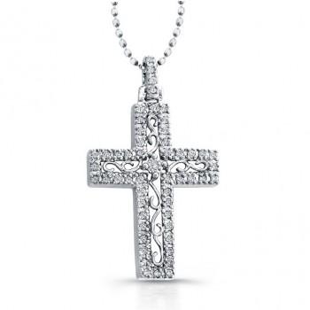 14K White Elegant Vintage Diamond Cross Pendant