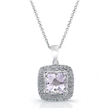 14k White Gold Pink Amethyst Diamond Pendant