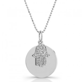 14k White Gold Diamond Disc Hamsa Necklace