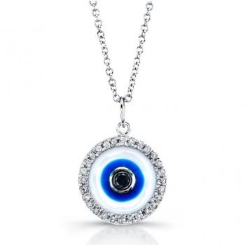 White Enamel Evil Eye Necklace-Black Diamond