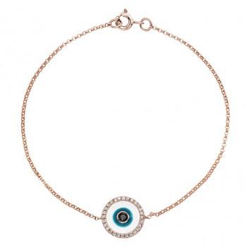 14k Rose Gold -White Enamel Evil Eye Diamond Bracelet