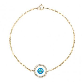 14k Yellow -White Enamel Evil Eye Diamond Bracelet