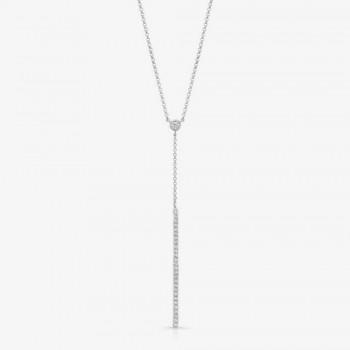 14K White Gold Diamond Stick Necklace