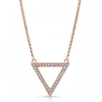 14K Rose Geometric Triangle Diamond Necklace