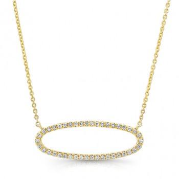 14K Yellow Sideways Diamond Necklace